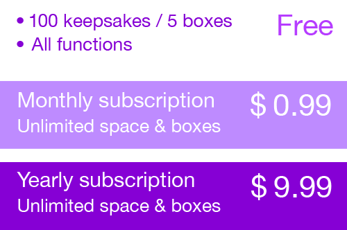 Free version 100 keepsakes, 5 boxes -- Monthly unlimited subscription $0.99 -- Yearly unlimited subscription $9.99